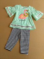 Wholesale Cotton Tops For Girls - Summer Baby girl clothing green top +stripe leggings 2 pcs for 0~6 Y baby 8 p l