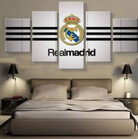 fußball wand leinwand großhandel-5 stücke real madrid fußballverein logo poster auf leinwand moderne wohnkultur bild HD druck für wohnzimmer schlafzimmer wandmalerei