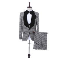 Wholesale blazers jackets for men - Black Plaid Cloth Men Suits for Wedding 2018 Black Shawl Lapel Blazer Trim Fit Three Piece Groom Tuxedos Jacket Pants Vest