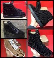 sapatos com espinhos brancos para homens venda por atacado-2018 moda Novos homens e mulheres designer preto tênis off marca designer de fundo vermelho mens sapatos de luxo de couro genuíno wHITE cravado toe sapato