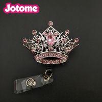 Wholesale China Reels - 100pcs lot Pink Rhinestone Mini Crown Badge Reel Retractable ID Badge Holder