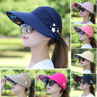 512a4aca859 20styles Adjustable Sun Hat Brimmed Summer Visor Hat Sun Beach Foldable  Roll Up Wide Brim Cap Ladies New style FFA344 200pcs