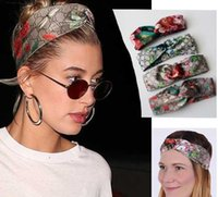 Wholesale bloom party - 100% Silk Front Knotted Headband Fashion Luxury Brand Bloom Flower Bird Elastic Hairband For Women Girl Retro Floral Turban Headwraps Gifts