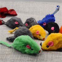 Wholesale feather leather hair for sale - Simulation Mouse Cat Toys Mini Funny Artificial Rabbit Hair Genuine Leather False Mouses Ringing Pet Supplies Pure Color sp bb