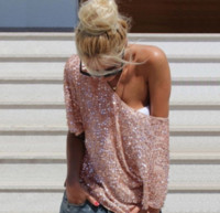 Wholesale batwing off shoulder tops - 2018 New Sexy Women HOT Fashion Loose Off Shoulder Sequin Glitter Blouses Summer Casual Shirts Vintage Streetwear Party Tops