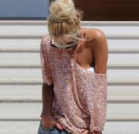vintage de hombros descubiertos al por mayor-2018 nuevas mujeres atractivas HOT moda suelta hombro lentejuelas glitter blusas verano casual camisas Vintage Streetwear Party Tops