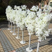Wholesale purple led lights for sale - 1 M Height white Artificial Cherry Blossom Tree Roman Column Road Leads For Wedding Mall Opened Props