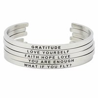 Wholesale inspirational gifts for women for sale - Hot Sale Stainless Steel Engraved Positive Inspirational Quote Hand Stamped BAR Cuff Bracelet Mantra Bangle for women