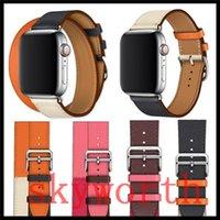 doppeltes leder echtes armband großhandel-Doppel runde echtes echtes leder uhrenarmband für apple watch 4 3 2 1 band armband armband armband armband 40mm 44mm 38mm 42mm
