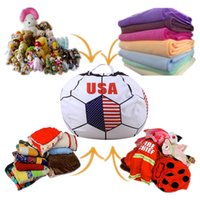 Wholesale play mat set - Storage bean bag 26inch for stuffed animal kids toy organizer portable extra blankets play mat clothes pillows bean bag wold cup 33 styles