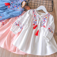 Wholesale chinese style clothes denim resale online - Tassel Embroidered Spring Dresses Flower Embroidery Bow Elastic Ruffle Brief Round Neck Long Sleeve Baby Girls Clothing Outfit T