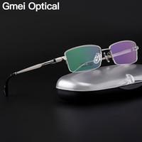 gafas de titanio de media montura. al por mayor-Gmei Optical Ultralight 100% Pure Titanium medio borde Glasses Frame para hombres de negocios Myopia Reading Spectacles recetados LB6615