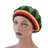 bonés de boinas verdes venda por atacado-Vermelho Verde Amarelo Boina Manual Crochet Buds Chapéus Jamaica Cap Rasta Cap Dança Casquette Mulheres Outono Inverno Caps 10gf gg