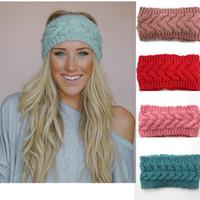 Wholesale Hair Ribbon Dhl - 31 colors Women Crochet Headband Wool Knitting Hair band Girls Ladies Winter Warm Headwrap Multicolor Hair Ribbon Free DHL