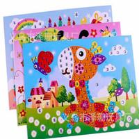 öğrenen tablet tablet toptan satış-12 adet / grup 3D çocuklar güzel karikatür hayvan boyama sticker oyuncak ile parlayan elmas bebek erken öğrenme renkli