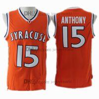 venta al por mayor al por mayor-NCAA Syracuse College # 15 Carmelo Anthony Jersey Orange 100% bordado de los hombres de baloncesto cosido jerseys baratos al por mayor