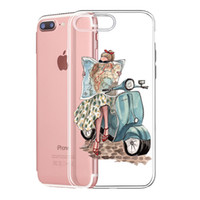 Wholesale beauty plus online - Soft Clear Phone Case motorcycle beauty girl painted For iPhone XR XS MAX S Plus plus s plus for Samsung TPU silicone