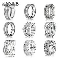 Wholesale mail light - KANIER Elegant S925 Pure Silver Original Copy Has a Logo Red Heart Of PANDORS Ring & Bright Light Female Women Jewelry Free Mail