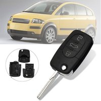 Wholesale audi remote shell resale online - 3 Button ABS Flip Foldable Remote Key Fob Case Shell Uncut Blade For HAA car Audi A2 A3 A4 A6 A8 TT Black AAA999