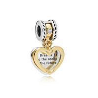 ingrosso semi di cuore-Nuovi 100% 925 semi d'argento sterling del futuro ciondola il fascino, Clear Crystal Pave Hearts Beads Fit originale Pandora Charms Bracciale gioielli