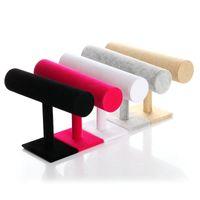 weißes display ständer armband großhandel-5 farben Weiß Pu Blcak Samt Schmuck Display-ständer Armband Armreif Kette Uhr Schmuckständer Halter T-bar Rack