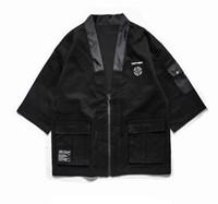 Wholesale japanese man s kimono online - Mens Japanese Zip Kimono Jackets Male Harajuku Front Pockets Kimono Jacket Streetwear Hip Hop Fashion Casual Coats