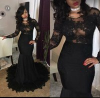 el encaje africano lleva al por mayor-Sexy Illusion Bodices Black Girl Prom Party Dresses 2018 Mermaid Jewel Neck Lace Apliques Long Sleeves African Evening Gowns Wear