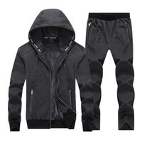 Wholesale army blue suit for sale - Group buy Fashion New Winter Men Set Hooded Sporting Suit Jacket Pant Sweatsuit PC Thicken Sportswear Men Tracksuit Set Clothing XL