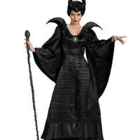 trajes maléficos al por mayor-Nuevo Adulto Deluxe Maléfica Bautismo Vestido Negro de Halloween Bruja Cosplay Disfraces Traje de Carnaval Ropa de Fiesta Traje