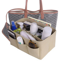 Wholesale types makeup tools - Felt Cloth Insert Storage Bag Makeup Storage Organizer Multi pockets Fits in Handbag Cosmetic Toiletry Bags for Travel Organizer