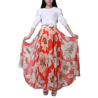 Wholesale floor length chiffon skirt for sale - 2018 Summer New Fashion Vintage Bohemia Chiffon Floral Printed Women Long Maxi Beach Party Loose Flare Skirt S6Q1711