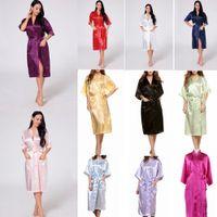 Wholesale wedding robes pajamas online - 11 Colors Women Silk Solid Robe Bridal Wedding Bridesmaid Bride Gown kimono Long Pajamas Summer Night Gown Sleepwear AAA537