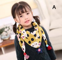 Wholesale Children Scarfs Triangle - Spring autumn cotton children scarf comfortable kids triangle scarf with cute star pendant boy girl neckerchief multicolor