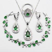 anillo de jade verde plata esterlina al por mayor-Mystic 925 Sterling Silver Green Zircon Jewelry Sets Para Mujeres Pendientes Collar Colgante Pulsera Caja de Regalo Libre W200