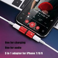 Wholesale 2 in Audio Adapter For iPhone X Plus Charging Audio Charger OTG Adapter For Double Jack to Earphone AUX Jack