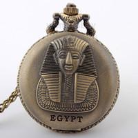 bilder uhren großhandel-Dropshipping ÄGYPTEN Bild Mystic Style Rare Design Herren Taschenuhr Special Design Anhänger Halskette Kette P292