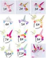 ingrosso le orecchie del gatto del partito-Unicorno Corno Hairband Bambini Unicorno fascia per accessori per capelli da festa Flower Hair Clasp Cosplay Crown Bambini Cat Ear Accessori per capelli