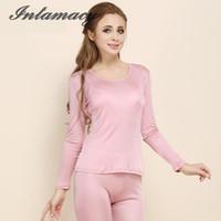 plus größe rosa satin dessous großhandel-Damen-Seide-strickendes T-Shirt reine niedrige thermische Unterwäsche stellt 100% Silk lange Unterhosen ein