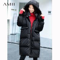 cde0eb781576b 2019 Amii Women 2018 Original Design Winter 90% White Duck Down Coat  Hoodies Knee Length Female Fashion Light Jacket Coats