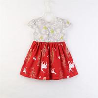 ropa de nieve al por mayor-Vestidos infantiles de navidad Ropa para bebés niñas Snow Deer Girl Kids Vestido de manga corta Moda Boutique de Navidad Vestidos enfant Ropa