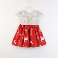 kinder weihnachtskleider großhandel-Weihnachten Kinder Kleider Baby Mädchen Kleidung Schnee Deer Mädchen Kinder Kurzarm Kleid Mode Weihnachten Boutique Enfant Kleider Kleidung