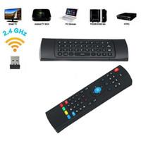 ingrosso voce del mouse dell'aria a distanza-2018 Nuovo telecomando 2.4G Air Mouse Tastiera wireless Ricerca vocale Chiamate vocali per MX3 Android Mini PC TV Box Drop shipping
