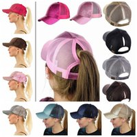 Wholesale Sequin Hats Caps - CC Glitter Ponytail Hat Messy Bun Ponycap Glitter Mesh Baseball Cap Sequin CC Softball Hats 7 Colors 30pc OOA4755