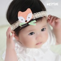Wholesale Orange Crochet Headbands - Inside Baby Stretch Headband Crochet Cartoon Cute Fox Baby Infant Hairbands Fashion Photography Adjustable Elastic Head Band A8328