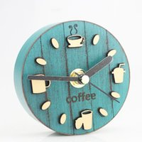 Wholesale coffee wall clock - Coffee Cup Pattern Kitchen Refrigerator Fridge Magnet Kitten Clock 3.3' Portable Magmatic Wall Clock Blue Tin Plated Home Decoration