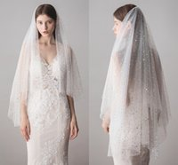 Wholesale double layer veils - Fantastic White Ivory Double Layers Shiny Sequins Fitted Bridal Wedding Short Fingertip Length Veil With Comb CPA1425