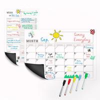almohadillas adhesivas fuertes al por mayor-Refrigerador magnético Arte de la pared Etiqueta engomada Calendario Mensual Planificador Semanal Pizarra Blanco Borrar para Cocina (2PCS / SET) 42x30cm Y18102209