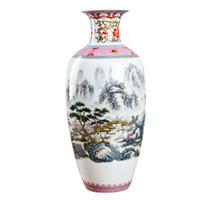 ingrosso vasi di jingdezhen-Antico Jingdezhen Vintage Guscio d'uovo Vaso in ceramica Accessori da scrivania Artigianato Fiore rosa Porcellana tradizionale Vaso cinese