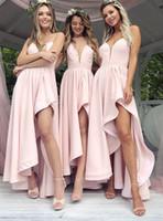 asymmetrical length wedding dress venda por atacado-Modern 2019 Rosa Comprimento Assimétrico Damas De Honra Vestidos Para Casamentos Ocidentais A Linha de Cintas de Espaguete Babados Vestidos de Festa de Casamento BM0173