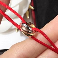Wholesale rope ring gold - 2018 Famous brand name Top quality bracelet with lucky three rings connect pendant and rope for women and man jewelry gift free shipping P